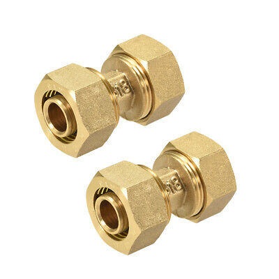 Brass Compression Tube Fitting for 14mm Tube ID 18mm Tube OD Gold Tone 2pcs