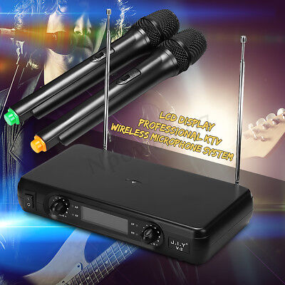 2 Channel Dual Cordless Handheld Mic Wireless Microphone System With LCD Display