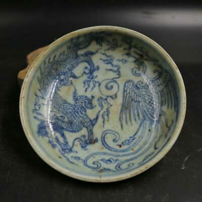 Chinese ancient antique hand make dragon and phoenix pattern Small plates