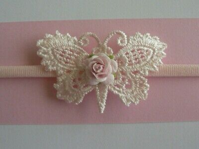 "Newborn/Baby/Toddler/Girl Nylon Headband With Baby Pink 2.25"" x 1.25"" Lace B'Fly"