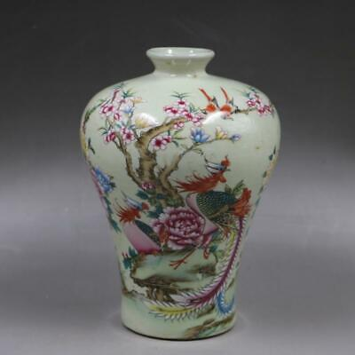 Chinese ancient antique hand make powder  color  Flower and Bird Patterns vase