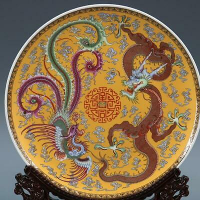 Chinese ancient antique hand make Dragon-phoenix pattern plates