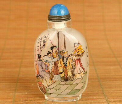 A Dream in Red Mansions Old Glass Hand Painting belle Statue Snuff Bottle
