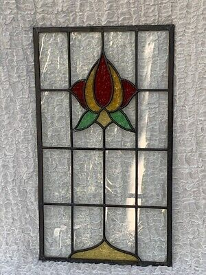 Antique Architectural Signed Lead Light Stained Glass Window Door Panel