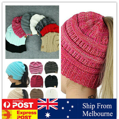 Women's Ponytail Beanie Ribbed Winter Messy Cable Warm Soft Knit Bun Hat Cap AU