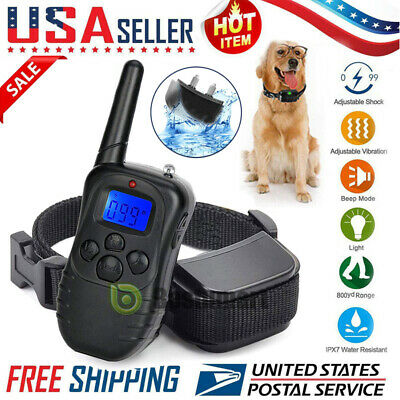 Pet Trainer Collar Waterproof Large Dog Training Shock With LCD Remote 875 Yard