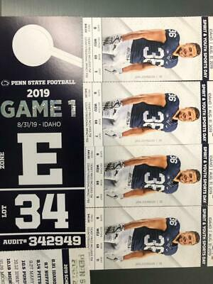 4 Penn State Vs Idaho 8/31/19  50 yard line  With a parking pass  Great Seats!