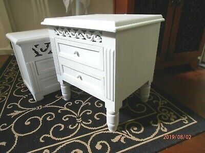 Belgravia Filigree Bedside Table on Short Feet, Matt White. French Shabby Chic