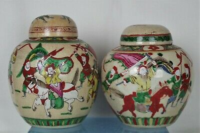 2 x Large Antique Chinese Hand-painted Crackle Glaze Lidded Warrior Ginger Jars