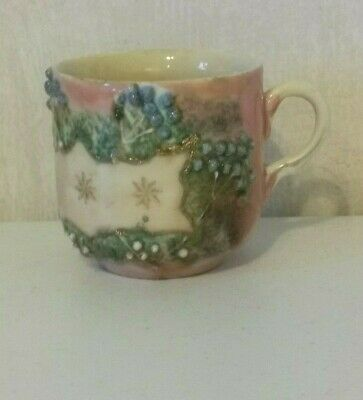 Antique Porcelain Mustache Cup Mug Pink Gold Embossed Hand Painted Victorian