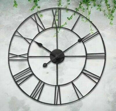 40Cm Big Roman Numerals Giant Open Face Metal Large Outdoor Garden Wall Clock