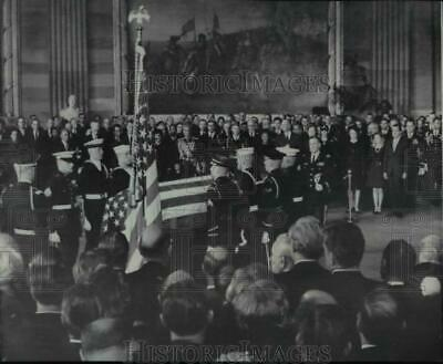 1969 Press Photo Casket bearing Dwight D Eisenhower is placed in Capitol Rotunda