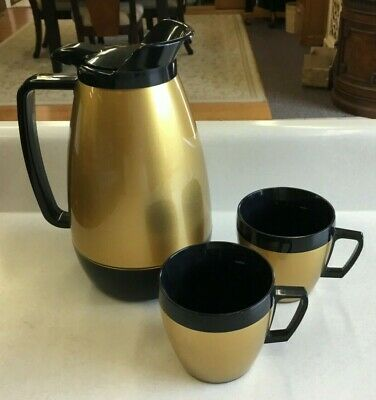Vintage Thermo Serv Insulated Black and Gold Coffee Carafe & 2 Mugs