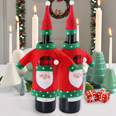 Xmas Elk Christmas Bottle Cover Red Wine Bags Unisex Sweater Office Products