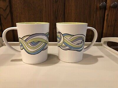 Two Starbucks 2010 New Bone China Porcelain Coffee Mug Cup Retro 70's Lg 16oz