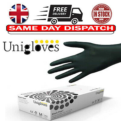 100  Black UNICARE Disposable Powder Free Latex Free Gloves Nitrile Black
