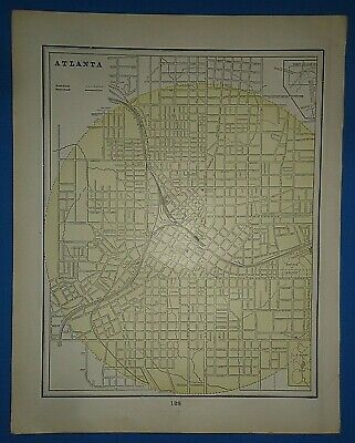 Vintage Circa 1898 ATLANTA MAP Old Antique Original Atlas Map