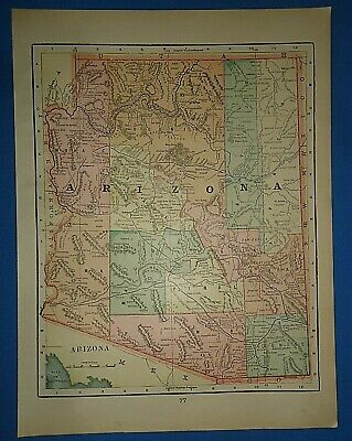 Vintage Circa 1898 ARIZONA TERRITORY MAP Old Antique Original Atlas Map