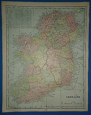 Vintage Circa 1898 IRELAND MAP Old Antique Original Atlas Map