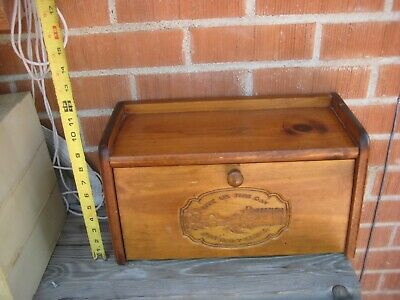 Vintage *** GIVE US THIS DAY ... *** Thick Heavy Solid Wood Bread Box USA