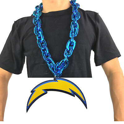 New NFL Los Angeles Chargers Blue Fan Chain Necklace Foam Magnet - 2 in 1