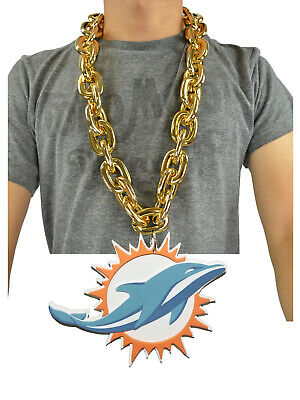 New NFL Miami Dolphins Gold Color Fan Chain Necklace Foam Magnet - 2 in 1