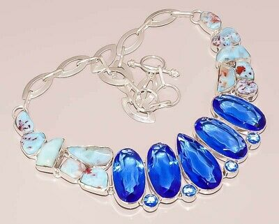 Natural Caribbean Blue Larimar London Topaz 925 Sterling Silver Plated Necklace
