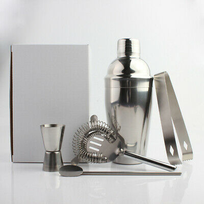 5PCS Stainless Steel Cocktail Shaker Set Jigger Mixer Bar Drink Shaker Bartender