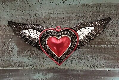 """Sacred Heart with Wings Tin Milagro11""""W Wall Hanging Handmade Mexican Folk Art"""