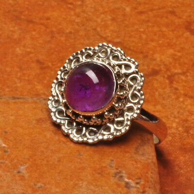 925 Sterling Silver Natural Amethyst Gemstone Ring Sz 7.25