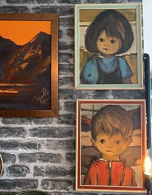 Pair Original Oil Paintings On Canvas & Framed Wide Eyed Children Girl & Boy