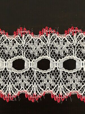 KNITTING CRAFT EYELET LACE 35mm width 5 Mts  White with Red trim