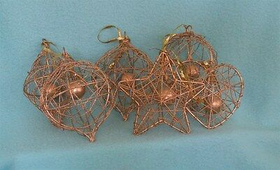 Vintage Mid Century Wire Metal Christmas Ornaments in Gold - Set of Six