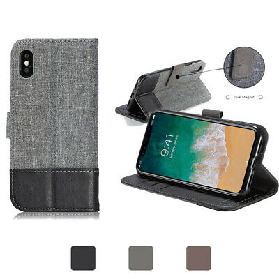 For iPhone X XS Max XR Magnetic Flip Leather Stand Case Wallet Shockproof Cover