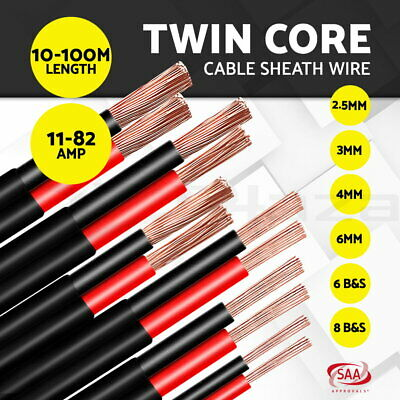 Electrical Wire Twin Core Cable 2.5-13mm Gauge Car Caravan Extension 450 V