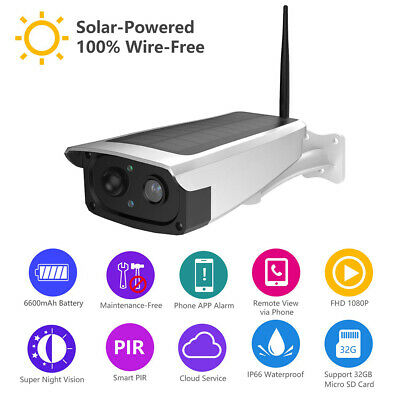 Outdoor Waterproof Solar Security Camera Wireless 1080P 128GB PIR Motion Sensor