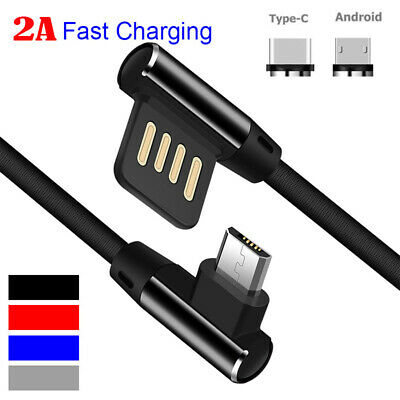 Charging Braided Reversible Data Sync Charger Cable Micro USB/Type-C 90 Degree