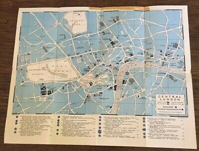 Vintage Folding Map Of Central London Cooks World Travel Service 1954