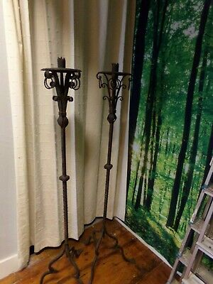 Antique Iron Floor Standing Church Candle Holders Sticks