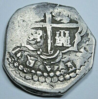 1600's Spanish Silver 2 Reales Piece of 8 Real Two Bits Pirate Treasure Cob Coin