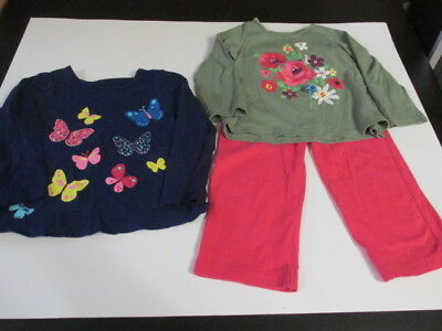 First Impressions -2 Long Sleeve Tops-Navy & Green/ Pink,pants -18 Months-Nwot