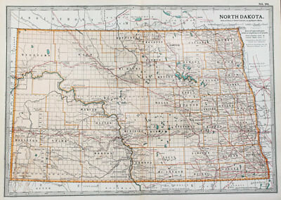 North Dakota State USA. - Antique Encyclopaedia Britannica Folding Map c 1900