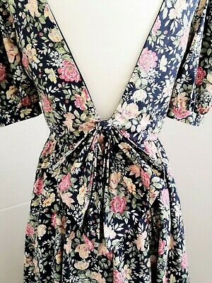 Vintage Laura Ashley Navy Pink floral low back midi scallop dress Size 14- 10/12