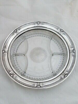 Sterling WALLACE Large Sectional Serving Dish w/ acid etched glass STRADIVARI