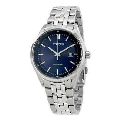 Citizen $295 Men's Eco-Drive Silver-Tone Ss Watch Blue Dial Date Bm7251-53L>