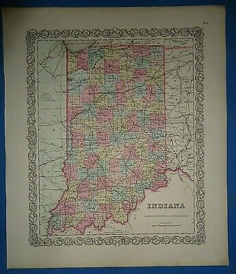 Vintage Circa 1857 INDIANA MAP Old Antique Original Colton Atlas Map