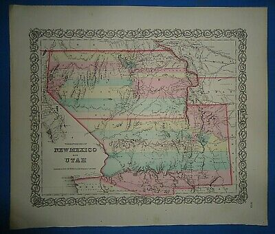 Vintage Circa 1857 UTAH NEW MEXICO TERRITORIES MAP Old Antique Original Colton