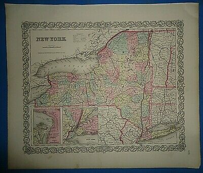 Vintage Circa 1857 NEW YORK STATE MAP Old Antique Original Colton Atlas Map