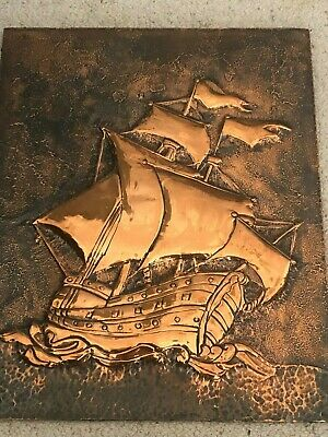 Copper Old Sailing Ship Billowing Sails Hammered Background Flags Flying on Wood