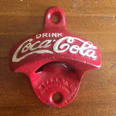 Cast Iron Coca Cola Coke Bottle Opener in Red Man Cave Bar Pub Garage Retro New